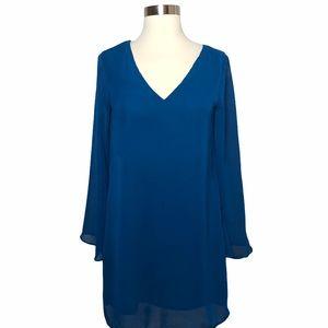 Japna Blue V-Neck & Bell Sleeves Boho Dress XS